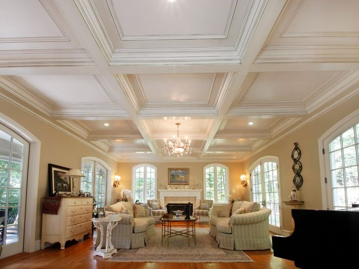 Traditional-Living-Room-Coffered-Ceiling