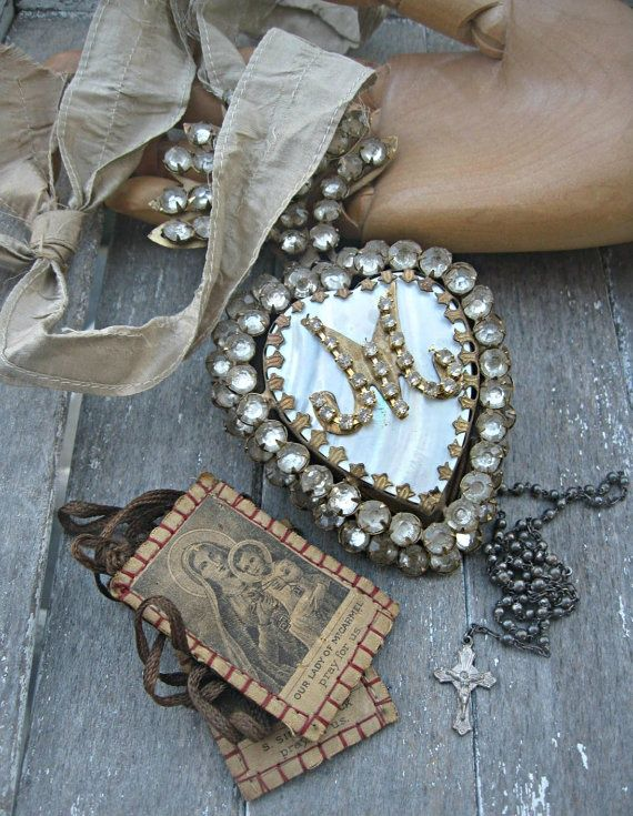 Vintage Scapular and Heart of Mary