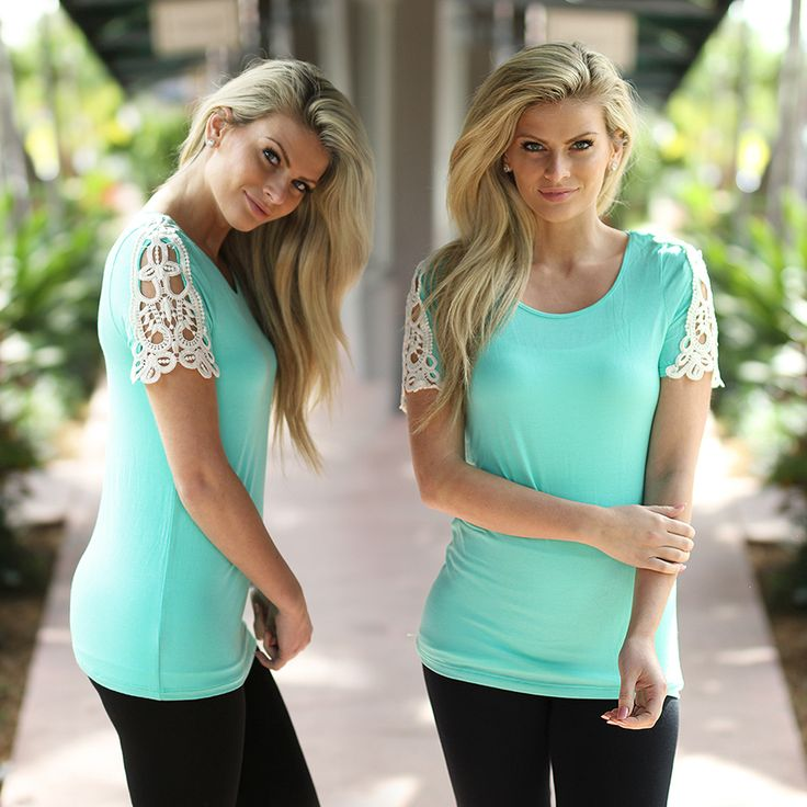 Our BEAUTIFUL crochet top now comes in this AMAZING mint color!  This Mint Top with Crochet Short Sleevee will take your breath away - the crochet details look amazingly chic. We're loving this piece - it's so easy to dress it up or down! Mix and match it with cute bottoms that you can find at our trendy online boutique!