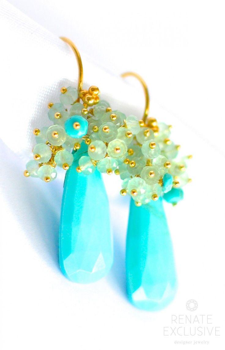 "Luxury and Unique Sleeping Beauty Turquoise Earrings ""Exotica"" - Handmade Jewelry - Renate Exclusive - 1"