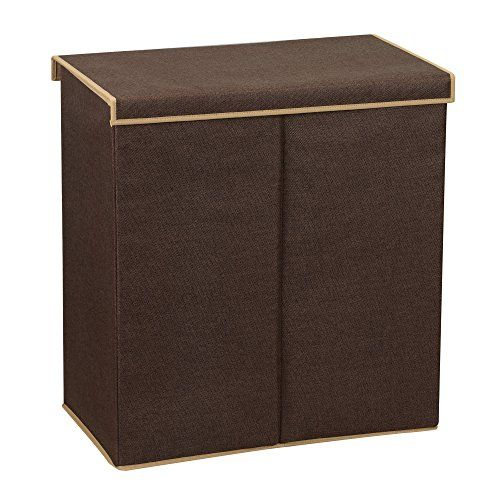 Household Essentials 5614 Double Hamper Laundry Sorter with Magnetic Lid | Brown Coffee Linen #Household #Essentials #Double #Hamper #Laundry #Sorter #with #Magnetic #Brown #Coffee #Linen