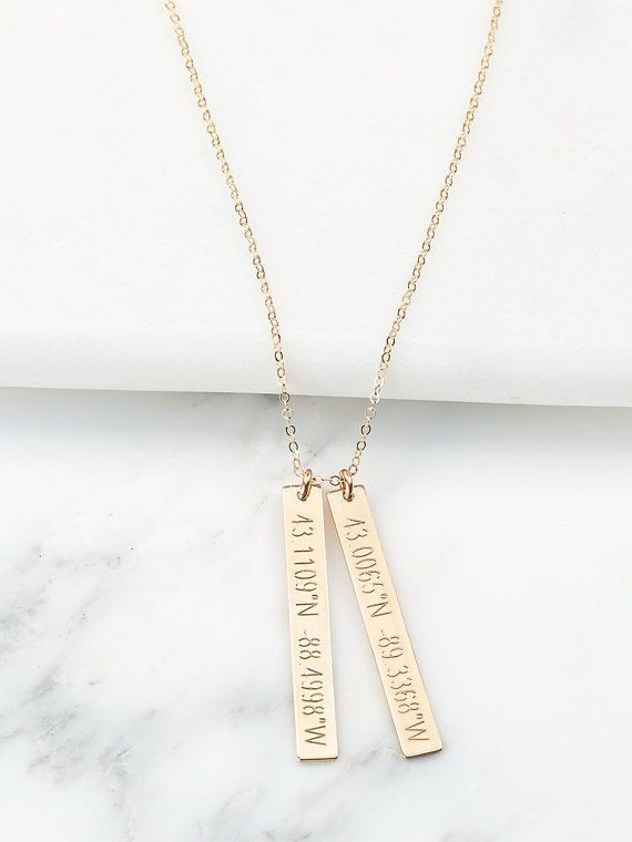 Perfect personalized necklace. You can personalize this necklace with names, roman dates, coordinates locations, and more. If you would like to personalized the necklace with coordinates, leave us a message in the comment box when you during check out or the address location (we can find