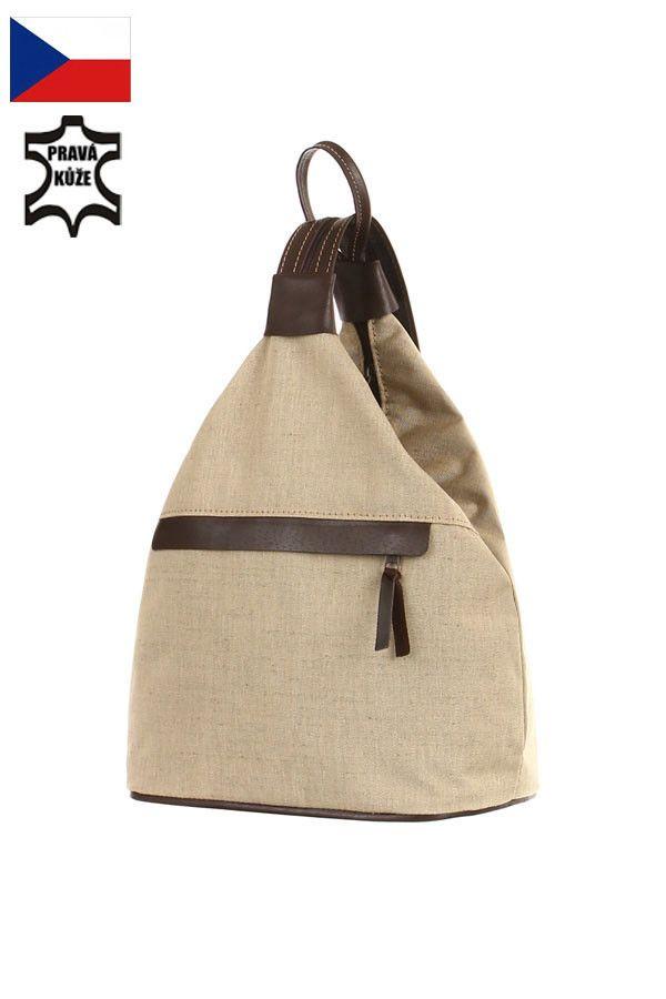 c7a2b7c4cd Kožený a látkový dámský batoh na jedno rameno 3v1 - Česká výroba - koupit  online na