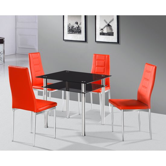 callisto glass dining table with 2 nova dining chair