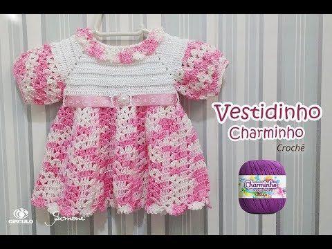 7667bfa3a73f2 Vestidinho de Crochê Charminho Prof. Simone Eleotério - YouTube   el işi  taki   Crochê, Crochê bebê, Vestido de crochê para criança