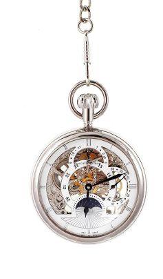 Montre gousset pour homme. Plaquage argenté. Dimensions : 50 X 15 mm. Mouvement mécanique apparent haute qualité. A savoir : Cette montre livrée avec sa chaîne fonctionne sans pile, l'élégant mouvement mécanique doit être remonté manuellement toutes les 24 à 48h.
