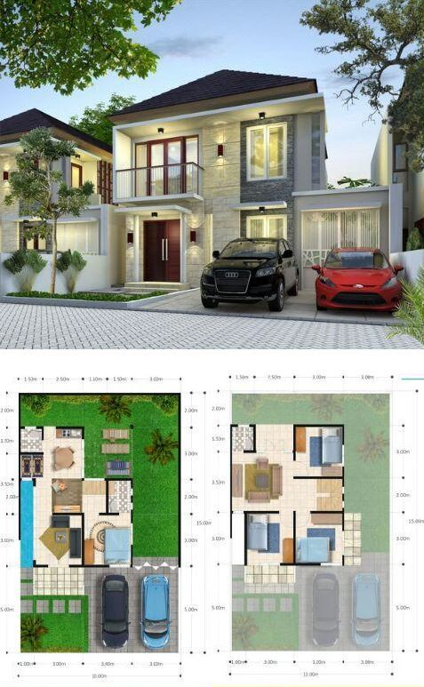 Denah Rumah Minimalis 2 lantai 100/150, dilengkapi 4 kamar tidur, 3 kamar mandi, 2 ruang keluarga dan 1 ruang tamu.