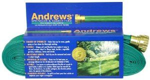 Andrews 100-Foot 2 Tube Sprinkler Hose 10-12349 by Andrews. $19.99. Tough, durable vinyl construction. Opaque green color. Andrews 100-foot 2 tube sprinkler hose. Measures 100-foot; carded. Flexible uniquely soft, lightweight; lays flat and will not flip over. Amazon.com                Made of durable yet flexible vinyl, the two-tube sprinkler is easy to contour around garden beds and varied terrain. The end clip can be removed and reset, allowing you to adjus...