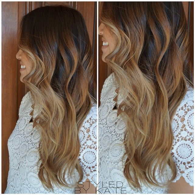 Ombre/balayage heaven. Deep brunette faded into blonde, finished with long layers to compliment her curly styling preferences. #StyledByKate | Instagram: @StyledByKate_