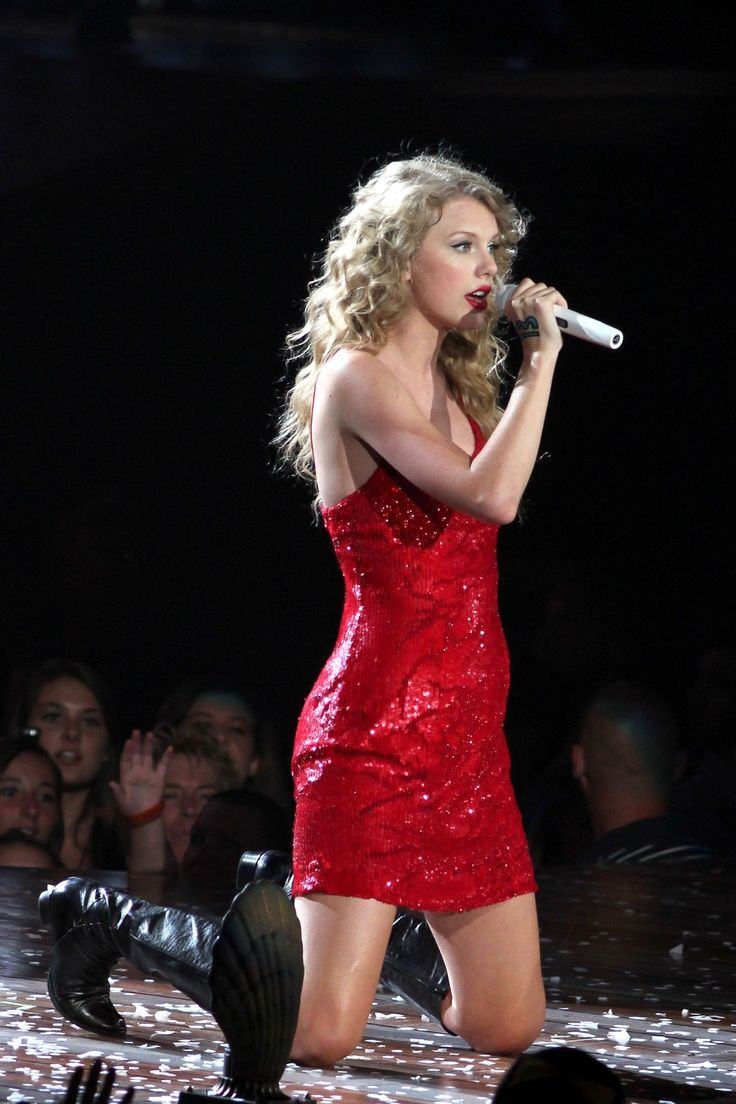 Taylor Swift Sparkly Red Mini Dress Speak Now Tour -2235