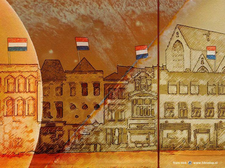 """Een stad van kaas, ontwerp voor een """"Welcome Wall"""" voor Gouda, inspelend op twee dingen waar de stad beroemd om is: kaas en cultuurhistorie."""