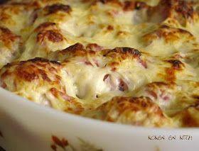 Bloemkool, ham, aardappel en kaas  gegratineerde ovenschotel
