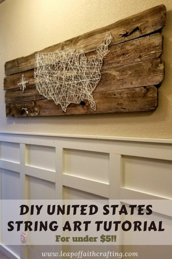DIY United States string art tutorial!  Learn how to make large wall art out of reclaimed wood and string!  So easy and frugal DIY decor!