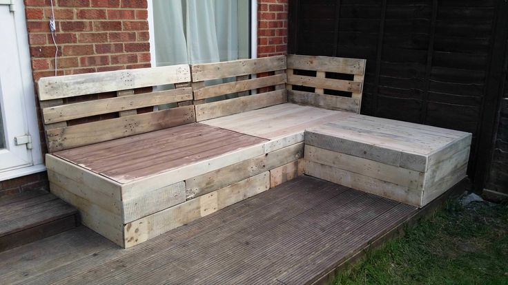 Original  Corner Sofa Made From Repurposed Euro Pallets  #outdoor #palletlounge #palletsofa #palletterrace #recyclingwoodpallets Euro pallets reused into an outdoor corner sofa for my terrace!  ...