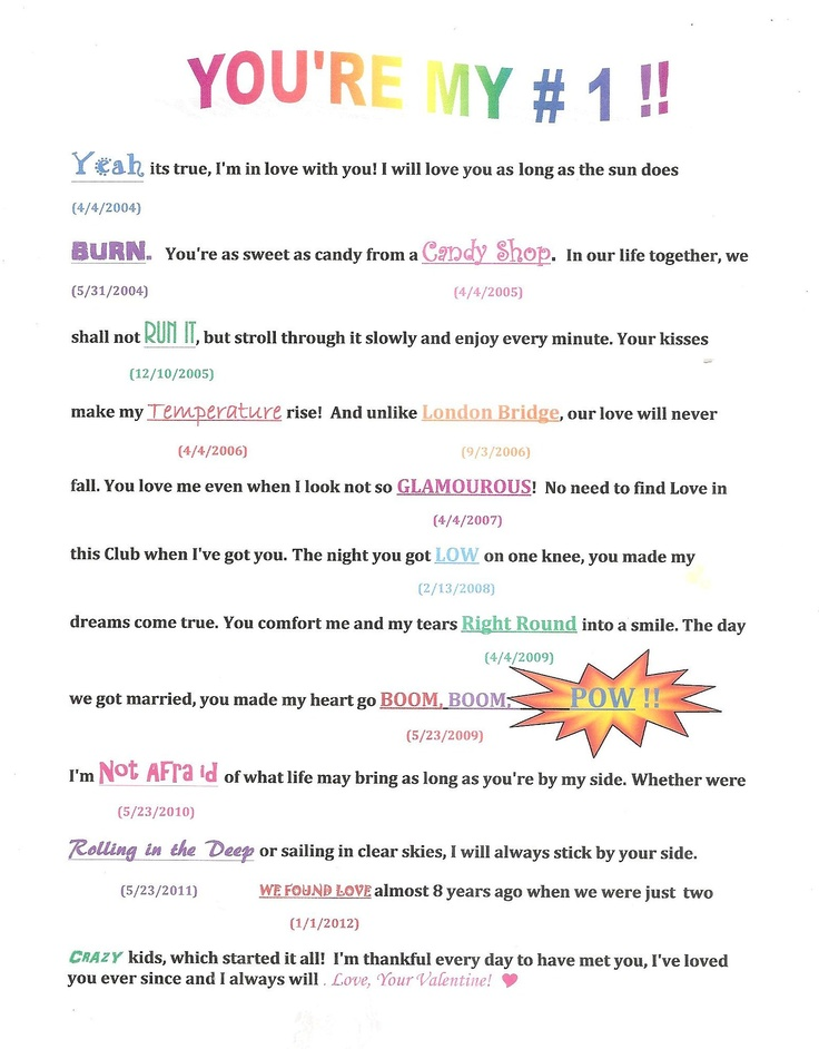 Made this for my husband for Valentines day! Take special dates from your life together, go to the Bilboard charts and look up each song in the archives that was #1 on those dates and incorporate the titles into a letter. (for example: the day you met, anniversary, proposal date,wedding anniv., children's birth days) Hope he gets a kick out of it!