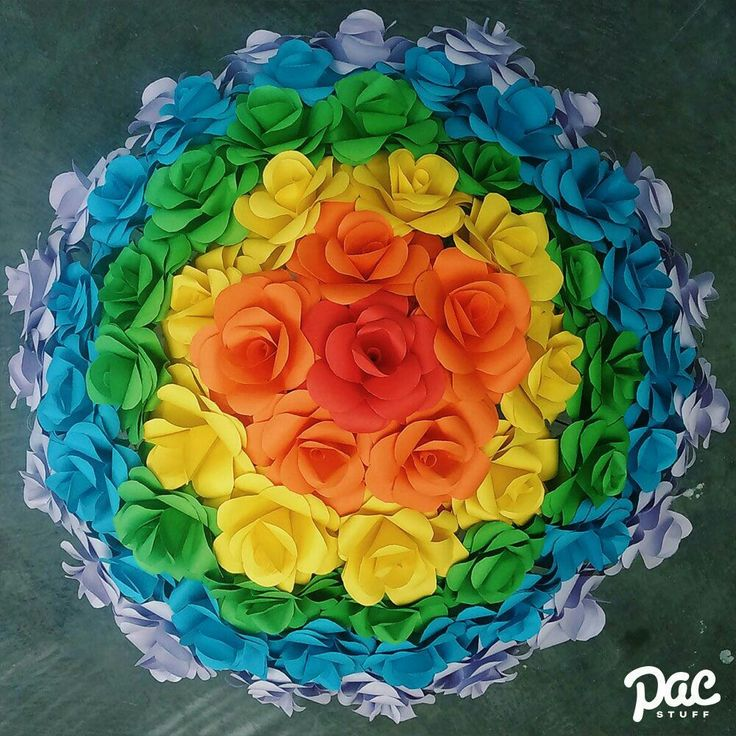 Rainbow Rose paper flowers #Paperflowers