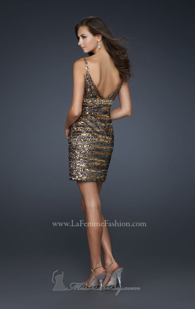 2015 New Style V-neckline Sequin Dress By La Femme Dresses [17068]