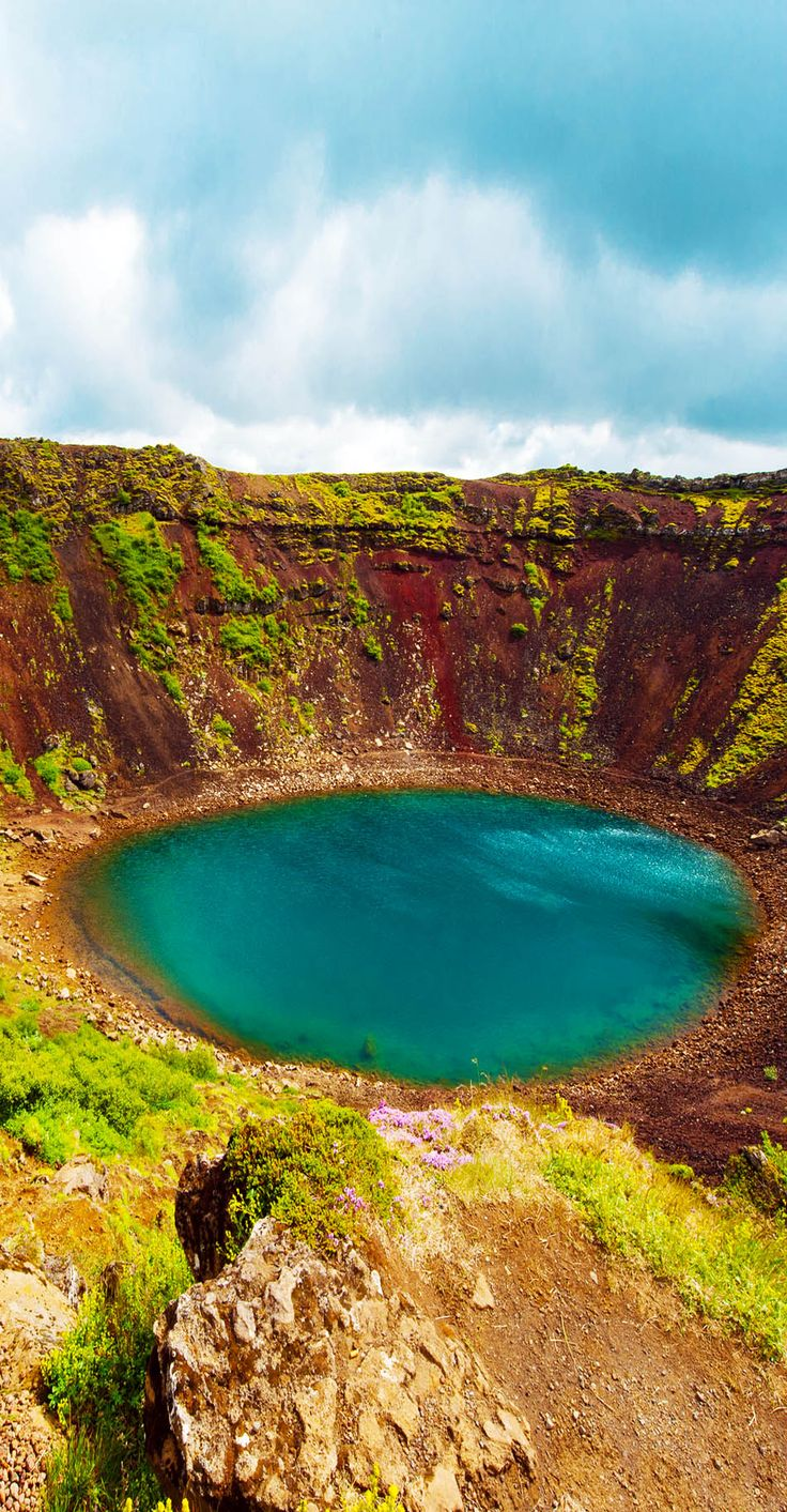 Kerid is a beautiful crater lake of a turquoise color located on the South-West of Iceland.