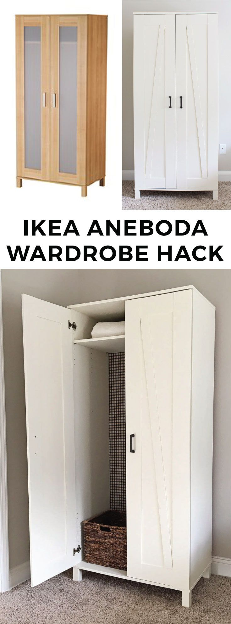 DIY IKEA Hack. Farmhouse style wardrobe from the IKEA Aneboda Wardrobe.