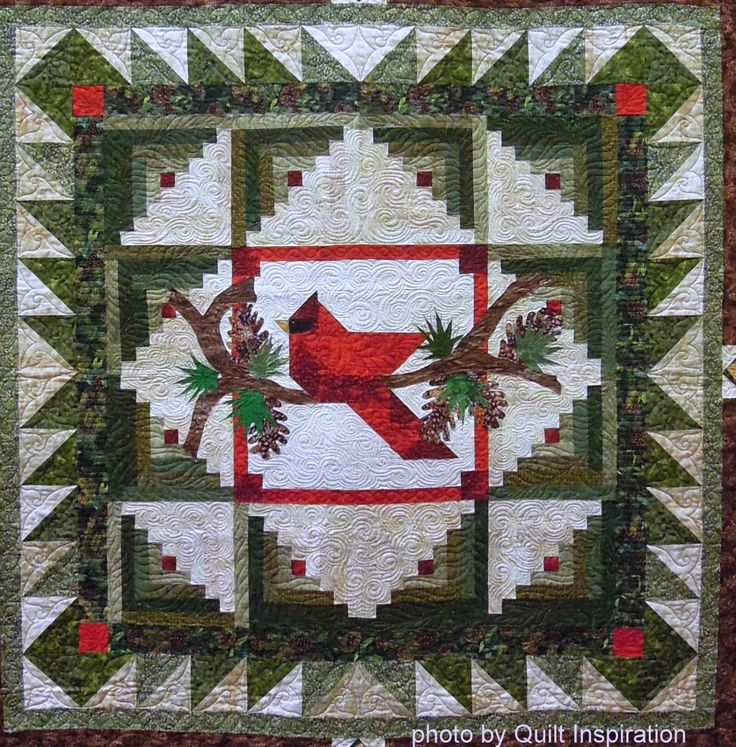 Red Bird by Kris Lovetro, 2014 Arizona Quilters Guild Show, quilted by Debbie Stanton.  Winter's Majesty pattern by Cheryl Haynes.  Photo by Quilt Inspiration