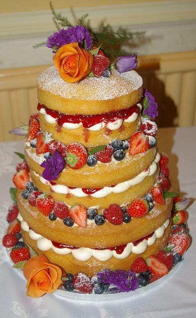 Naked Wedding Cake - love these