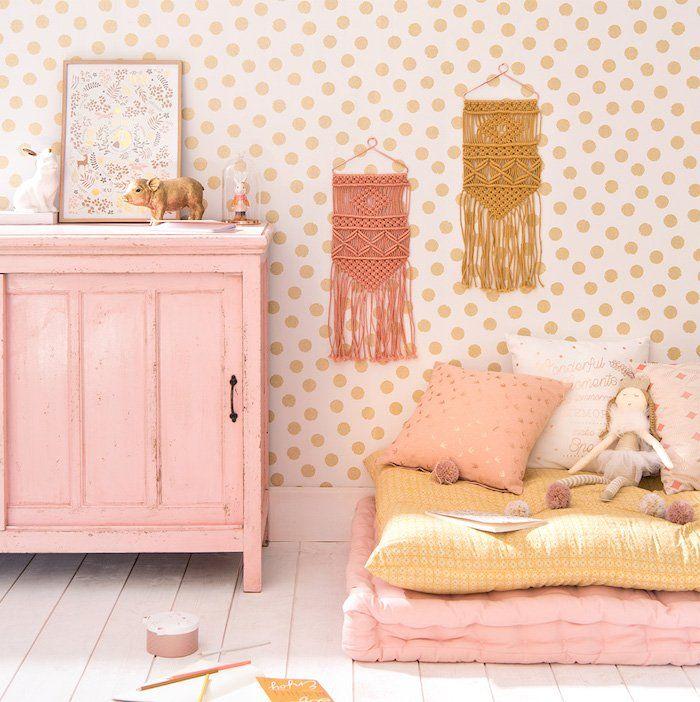 Chambre Petite Fille Vieux Rose Pastel Et Jaune Curry Moutarde