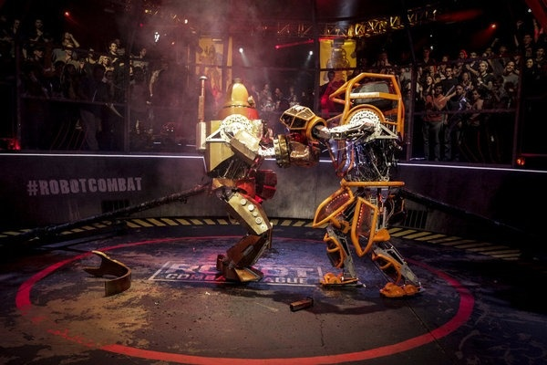 """Robot Combat League,"" Syfy's series pitting 8-feet-tall humanoid machines against each other in tournament-style face-offs, has been years in the making."