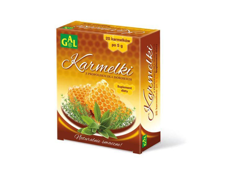 KARMELKI Z PROPOLISEM DLA DOROSŁYCH // Karmelki przeznaczone są dla osób dorosłych, w okresach dyskomfortu jamy ustnej, jako uzupełnienie codziennej diety w składniki zawarte w preparacie. Szałwia, tymianek i podbiał korzystnie oddziałują na struny głosowe oraz krtań. Zawarte w karmelkach zioła wraz z witaminą C pomagają w prawidłowym funkcjonowaniu układu odpornościowego. http://www.gal.com.pl/produkty/suplementy-diety/karmelki-z-propolisem-dla-doroslych.html