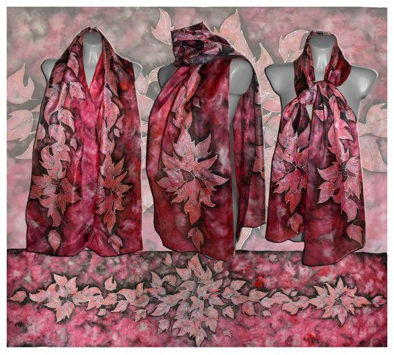 Large handpainted silk scarf  Red Leaves silk by JankaLart on Etsy