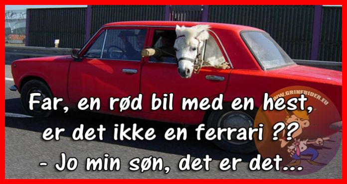 Far, en rød bil med en hest, er det ikke en ferrari ?