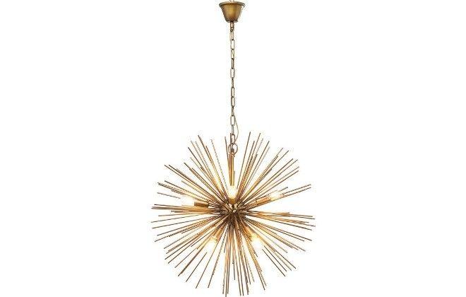 Design glamrock per questo #lampadario scenografico e un punto culminante di #design,. Le numerose canne color ottone e la disposizione a raggiera rendono la luce particolarmente intensa valorizzando la zona #living. http://bit.ly/2BBa8Go