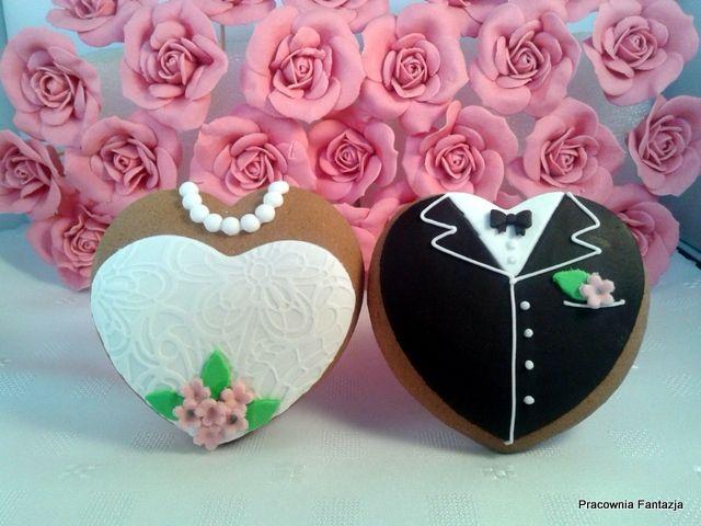 Podziękowania dla gości weselnych. Ręcznie dekorowane pierniki.