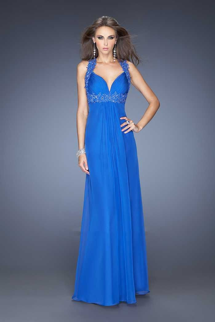Floor Length Electric Blue Chiffon Open Back Prom Dresses Cheap