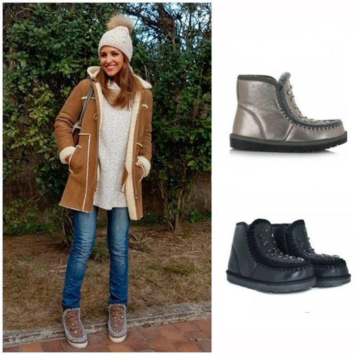 Copia el look de Paula Echevarría  Un conjunto casual rematado con botas estilo mouton con cristales.