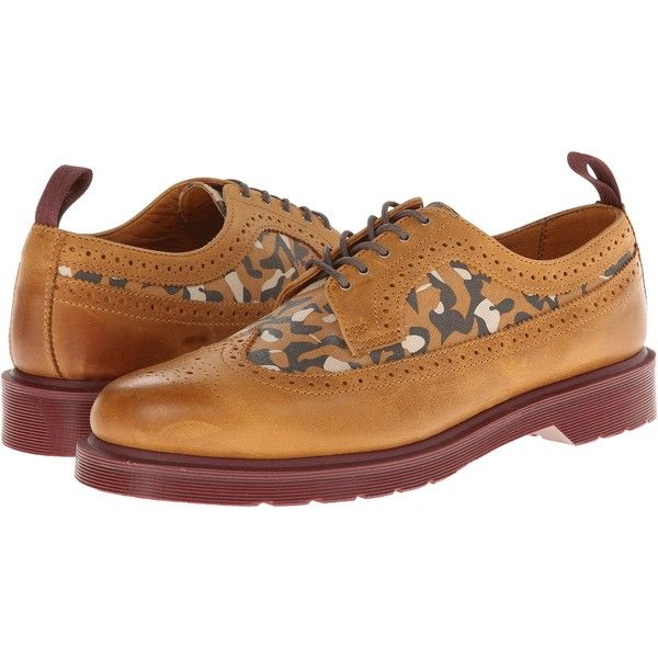 Dr. Martens Shreeves Brogue Shoe Shoes (41.880 CLP) ❤ liked on Polyvore featuring shoes, boots, tan, platform shoes, brogue shoes, anti slip shoes, dr martens shoes and formal leather shoes