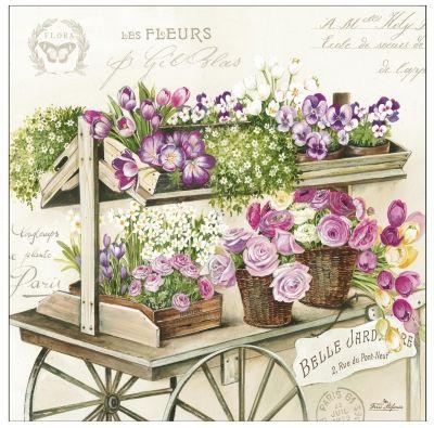 3164 Servilleta decorada flores