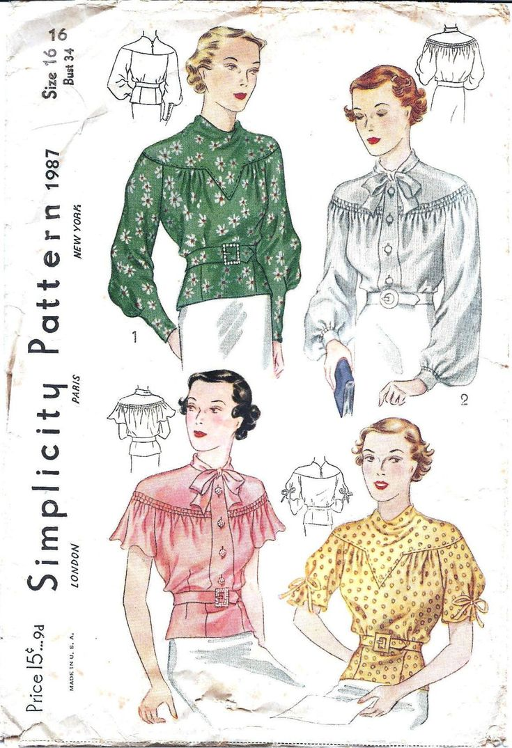 1930s Womens Blouse - Simplicity 1987 Vintage Pattern - 34 Bust - Shirred and Gathered. $35.00, via Etsy.