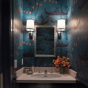 Ann Lowengart Interiors – bathrooms – teal and orange wallpaper, chinoiserie wal…