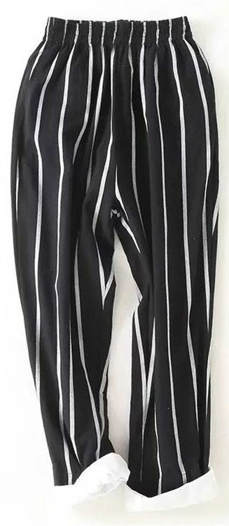 Women Fashion Street Outfits Casual Vertical Striped Harem Pants