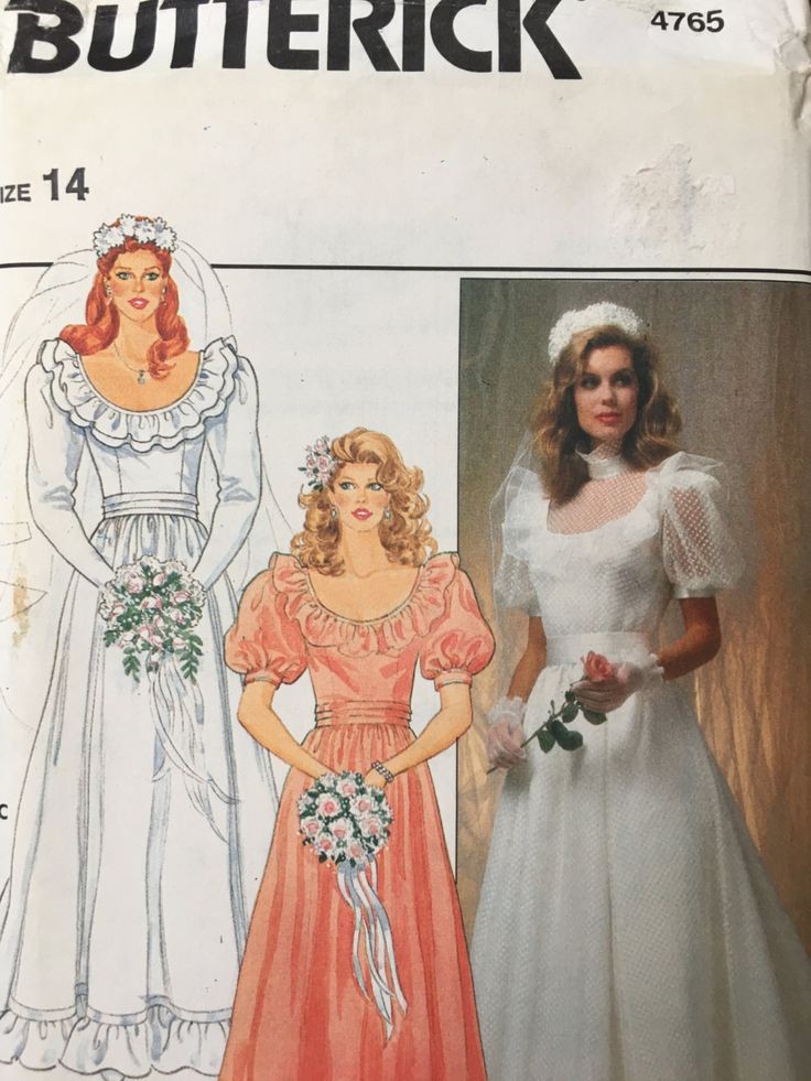 4765 Butterick Misses Bridal Wedding Gown Dress Cummerbund Scoop Pattern s14 Wedding gown 1970s 1980s retro style by weseatree on Etsy