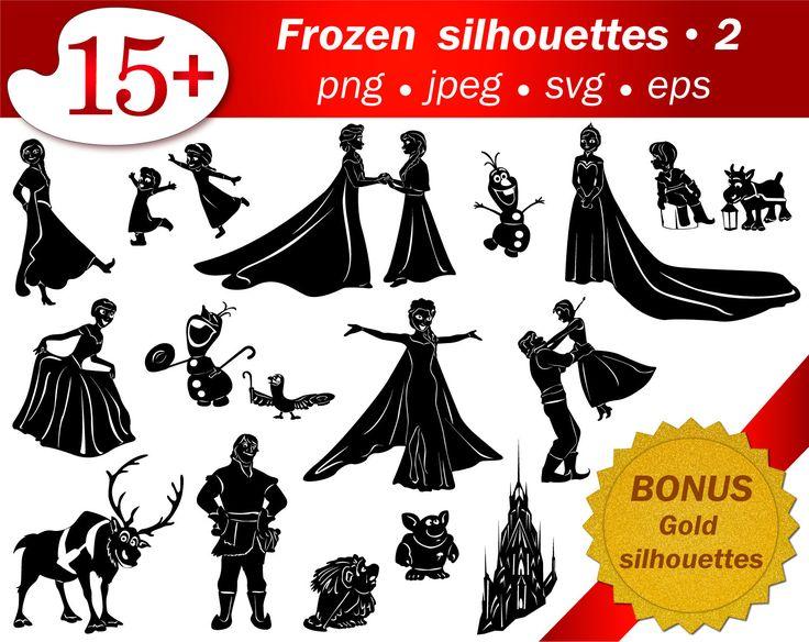 SVG frozen cartoon silhouettes. Disney silhouettes. PNG silhouette. Editable vector silhouette, gold glitter png silhouette. Craft supplies by ScrapArtStudioEU on Etsy