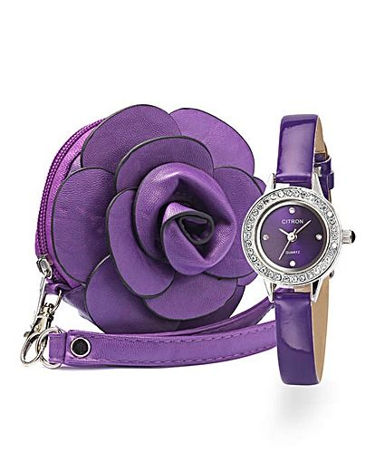 Ladies Glitzy Watch and Flower Purse Set For my Grandaughter Rebekah