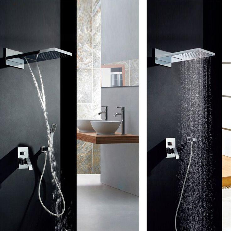 Duschsystem Unterputz mit Eckiger Kopfbrause Regenfall in