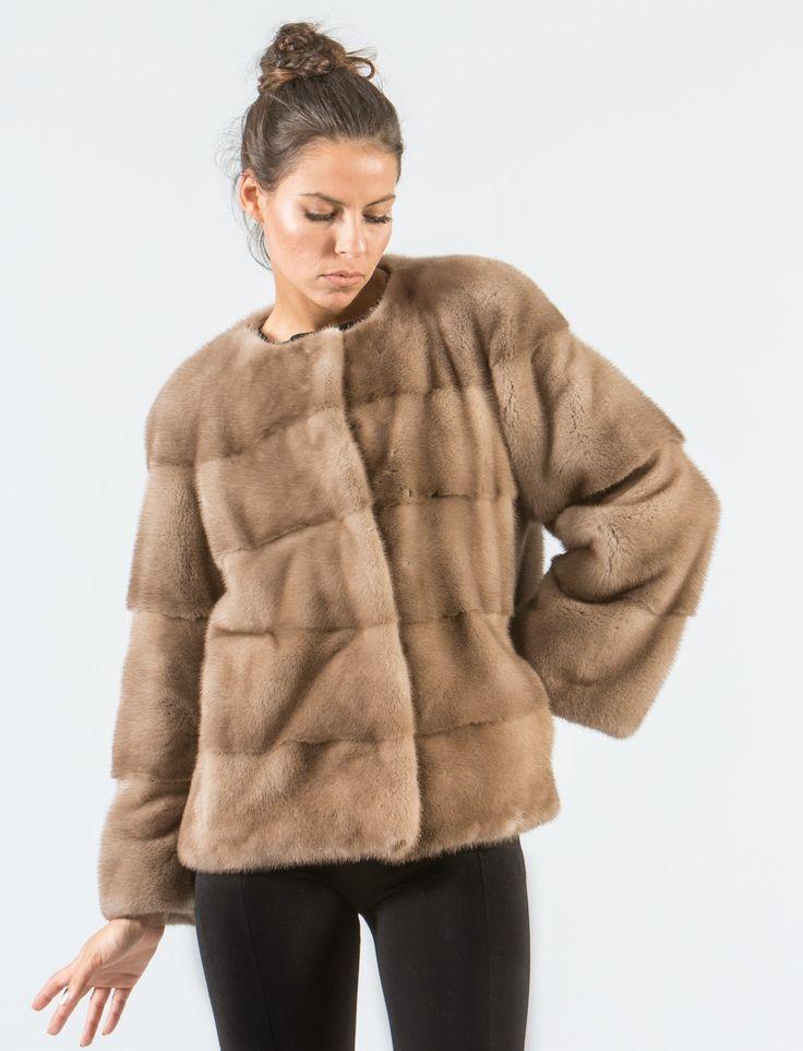 Pastel Mink Short  Fur Jacket     #pastel #mink #fur #jacket #collarless #real #style #realfur #elegant #haute #luxury #chic #outfit #women #classy #online #store