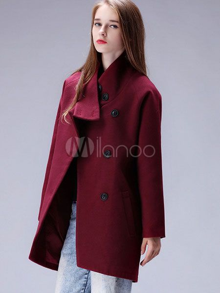 Women's Cocoon Coat Stand Collar Long Sleeve Casual Outerwear