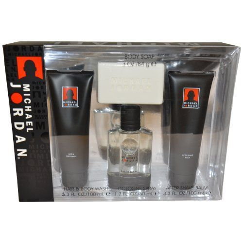Michael Jordan Men Gift Set (Cologne, After Shave Balm, Hair and Body Wash, Body Soap) by Michael Jordan. $26.99. Michael Jordan by Michael Jordan for Men. Michael Jordan by Michael Jordan for Men - 4 Pc Gift Set 1.7oz Cologne Spray, 3.3oz After Shave Balm, 3.3oz Hair & Body Wash, 3oz Body Soap. Launched by the design house of Michael Jordan in the year 1996. It is classified as a flowery fragrance. This masculine scent possesses a blend of cedar, sandalwood, green tea, and l...