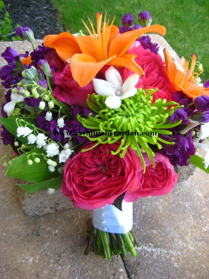 April Wedding Colors | Her Bridal Bouquet Was Designed With Orange Lilies  Baroness Garden .