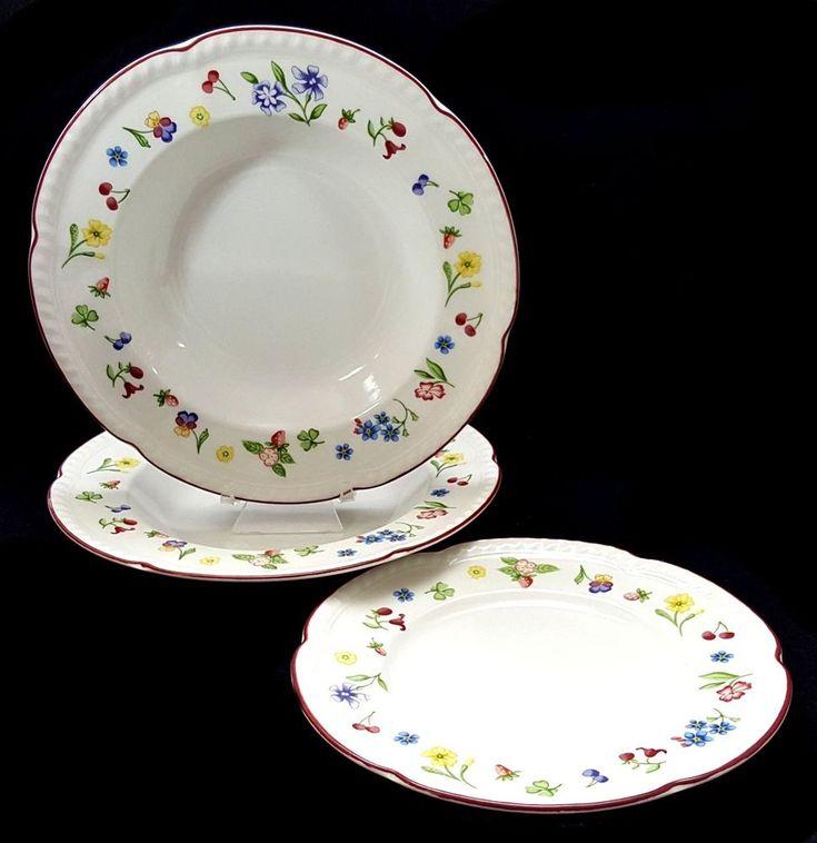 Johnson Bros Fleurette 2 Soup Bowls 1 Salad Plate Flowers Red Band Scalloped #JohnsonBros