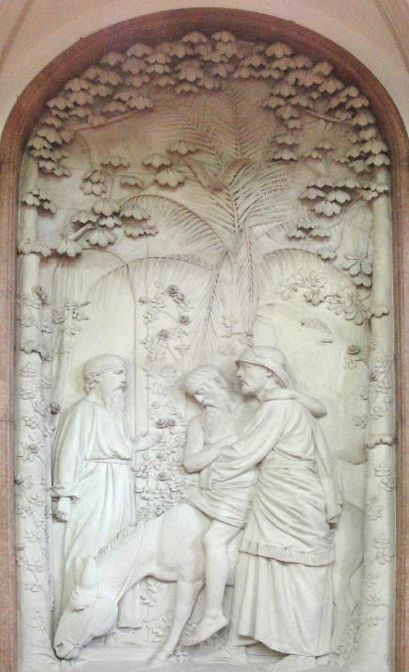 Memorial to Sarah Elizabeth Wardroper [The Good Samaritan] by George Tinworth. 1893-94. Relief in pale terracotta in a frame of pink marble, 4.27cm high x 2.02m wide. Signed on the relief at the lower right with the artist's monogram. St. Thomas's Hospital Chapel, Westminster Bridge Road, London…. found with google via http://www.victorianweb.org/sculpture/tinworth/10.html