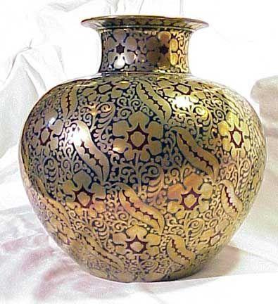 Zsolnay Hungarian Handicrafts Flower Colour Decor Porcelain Vase Golden